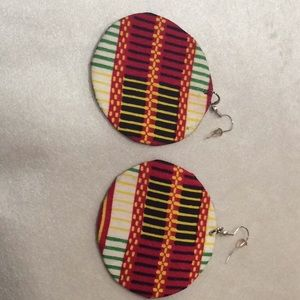 unknown Jewelry - Fabric round flat earrings .($8 if you buy 3)